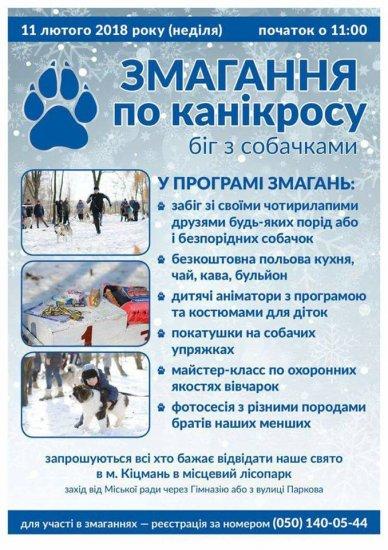 11 лютого в Кіцмані відбудуться змагання з канікросу та свято для любителів собак